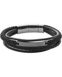 Fossil - Men's Black Multi Cord Leather Bracelet - Lyst