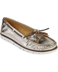 Lotus - Gold Leather 'vanda' Loafers - Lyst