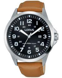 Lorus Men's Brown Dial Tan Leather Strap Watch