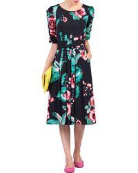 Jolie Moi - Navy Print Ruched Half Sleeve Dress - Lyst