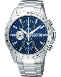 Lorus Men's Stainless Steel Blue Chronograph Dial Bracelet Watch Rf851dx9 - Metallic
