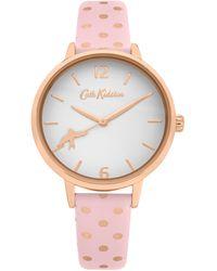 Cath Kidston Polka Dot Print Analogue Strap Watch Ckl088p - Pink