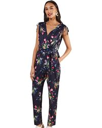 Yumi' Navy Jersey Floral Jumpsuit - Blue