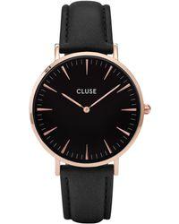 Cluse - Ladies' Rose Gold And Black 'la Boheme' Leather Strap Watch - Lyst