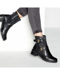 65a6f4df8c8 Bike Buckle Trim Leather Ankle Boots - Black