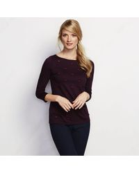Lands' End - Purple Cotton Modal Laser Cut Tee - Lyst