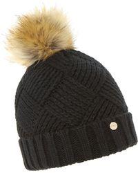 Dune - Black 'freyya' Pom Pom Trim Knitted Hat - Lyst