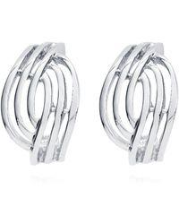 Anne Klein - Silver Open Weave Clip On Earrings - Lyst
