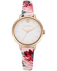 Cath Kidston Ladies Pink Floral Strap Watch Ckl064prg
