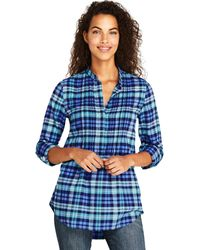 Lands' End - Blue Pin Tucked Brushed Cotton Tunic Top - Lyst