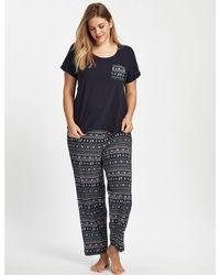 Evans - Purple Fair Isle Print Pyjama Set - Lyst