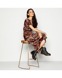 Red Herring Floral Print Midi Tea Dress - Black