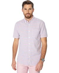 Racing Green - Big And Tall Red Stripe Print Short Sleeve Shirt - Lyst