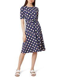 Hobbs - Multicoloured Floral Print Jersey 'bayview' Knee Length Tea Dress - Lyst