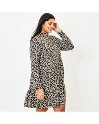 Oasis - Multicoloured Curve Animal Cosy Dress - Lyst