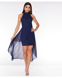 Quiz Glitter Lace High Neck Dip Hem Dress - Blue