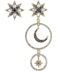 Matthew Williamson - Gold Crystal Star And Moon Mismatched Earring Set - Lyst