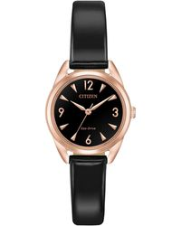 Citizen - Drive Rose-goldtone Dial & Black Vegan Leather Strap Watch - Lyst