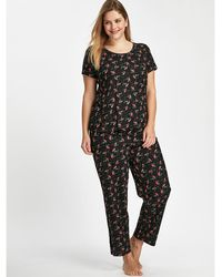 Evans Black Robin Print Pyjama Set