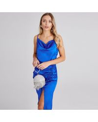 Girls On Film - Blue Jules Cobalt Satin Cowl-neck Midi Dress - Lyst