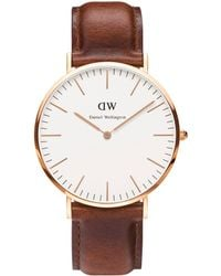 Daniel Wellington - Gents Rose Gold St Andrews Brown Leather Strap Watch 0106dw - Lyst