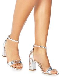 Faith - Silver 'demi' High Heel Wide Fit Ankle Strap Sandals - Lyst