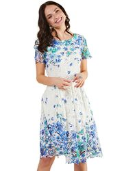 Yumi' Ivory Butterfly Print 'lena' Party Dress - Blue