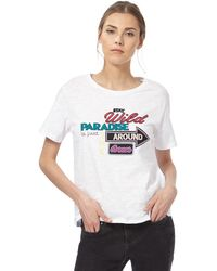 House of Holland - White Paradise Slogan T-shirt - Lyst