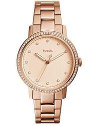 Fossil - Ladies Rose Gold 'neely' Quartz Bracelet Watch - Lyst