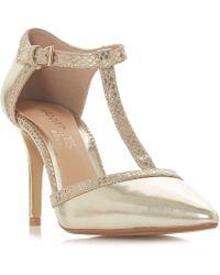 Dune - Gold 'carlina' High Stiletto Heel T-bar Shoes - Lyst