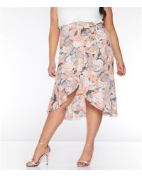 ce1b1a07a5 Quiz - Curve Nude And Pink Abstract Print Wrap Skirt - Lyst