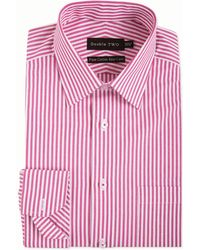 Double Two - Big And Tall Red Bengal Stripe Formal Shirt - Lyst