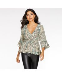 Quiz Green And Stone Snake Print 3/4 Sleeves Top