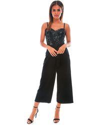 Be Jealous - Black Sequin Belted Jumpsuit - Lyst