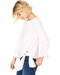 Oasis - White Sash Tie Cotton Top - Lyst