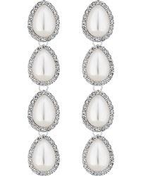 Red Herring - Silver Multi Pearl Peardrop Drop Earrings - Lyst