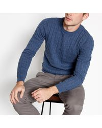 Racing Green Mid Blue Cable Knit Cotton Jumper