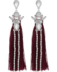Lipsy - Silver Crystal Cluster Red Tassel Statement Earring - Lyst