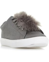 Dune - Silver 'edna' Pom Pom Lace Up Trainers - Lyst