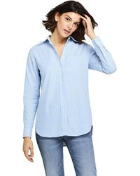Lands' End Petite Embroidered Stretch Oxford Shirt - Blue