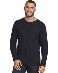 Raging Bull Navy Signature Cable Knitted Crew Neck Jumper - Blue