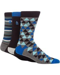 Original Penguin - Pack Of Three Assorted Plain And Patterned Socks - Lyst