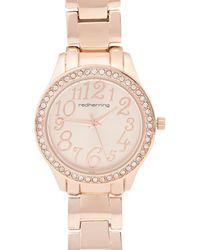Red Herring Ladies Rose Mini Dali Numbers Bracelet Watch - Pink