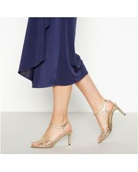 Début Strap 'dinny' Mid Stiletto Heel T-bar Sandals - Metallic