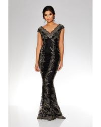 Quiz - Black And Gold Embroidered Scallop Fishtail Maxi Dress - Lyst