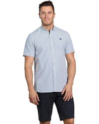 Raging Bull Navy Short Sleeve Seersucker Shirt - Blue