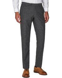 Racing Green Donegal Tailored Fit Formal Trousers With Stretch - Grey