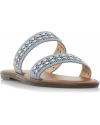 Dune - Blue 'luminosa' Embellished Double Strap Flat Sandals - Lyst