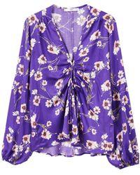 Mango - Purple Floral Print 'adela' V-neck Long Sleeves Top - Lyst