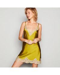 Jenny Packham - Lime Green Silk Blend Lace Trim Chemise - Lyst